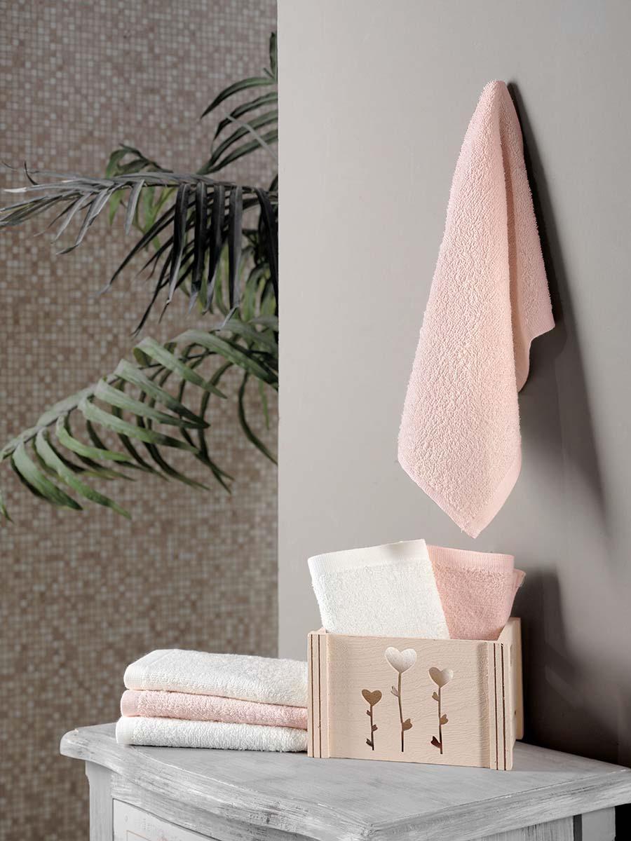 Салфетка махровая Karna Flori, светло-розовый, 30 х 30 см, в корзине, 6 шт