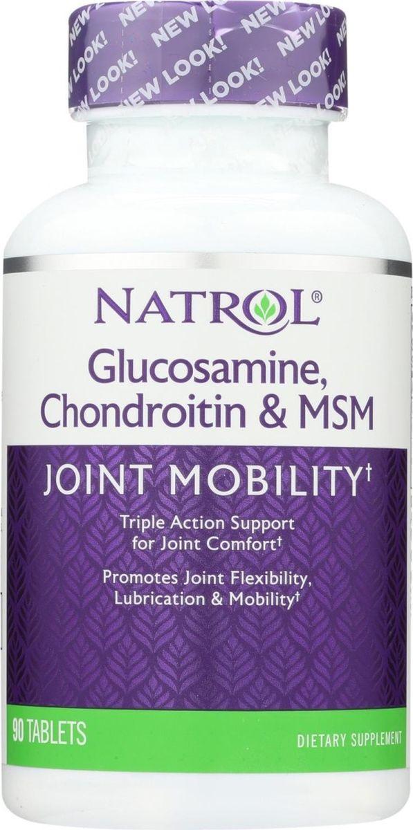 Глюкозамин Хондроитин и МСМ Natrol, 90 таблеток витамины и минералы natrol natrol ginkgo biloba 120 mg 60 капсул