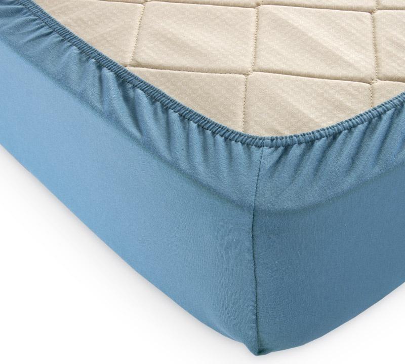 Простыня Белиссимо 160х200х20 трикотаж натяжная, голубой
