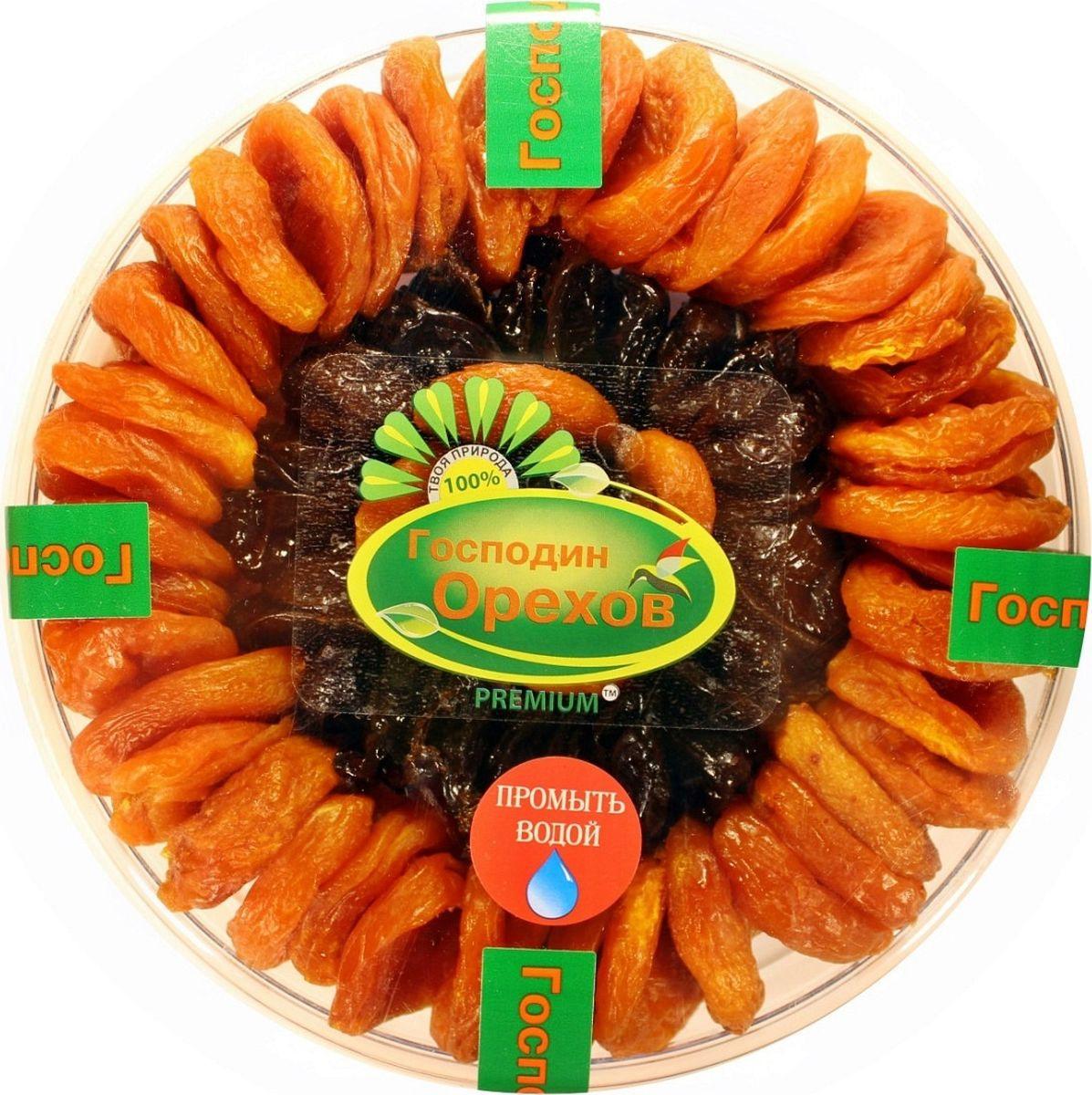 Смесь Господин орехов Ассорти кураги и чернослива, 700 г, тарелка
