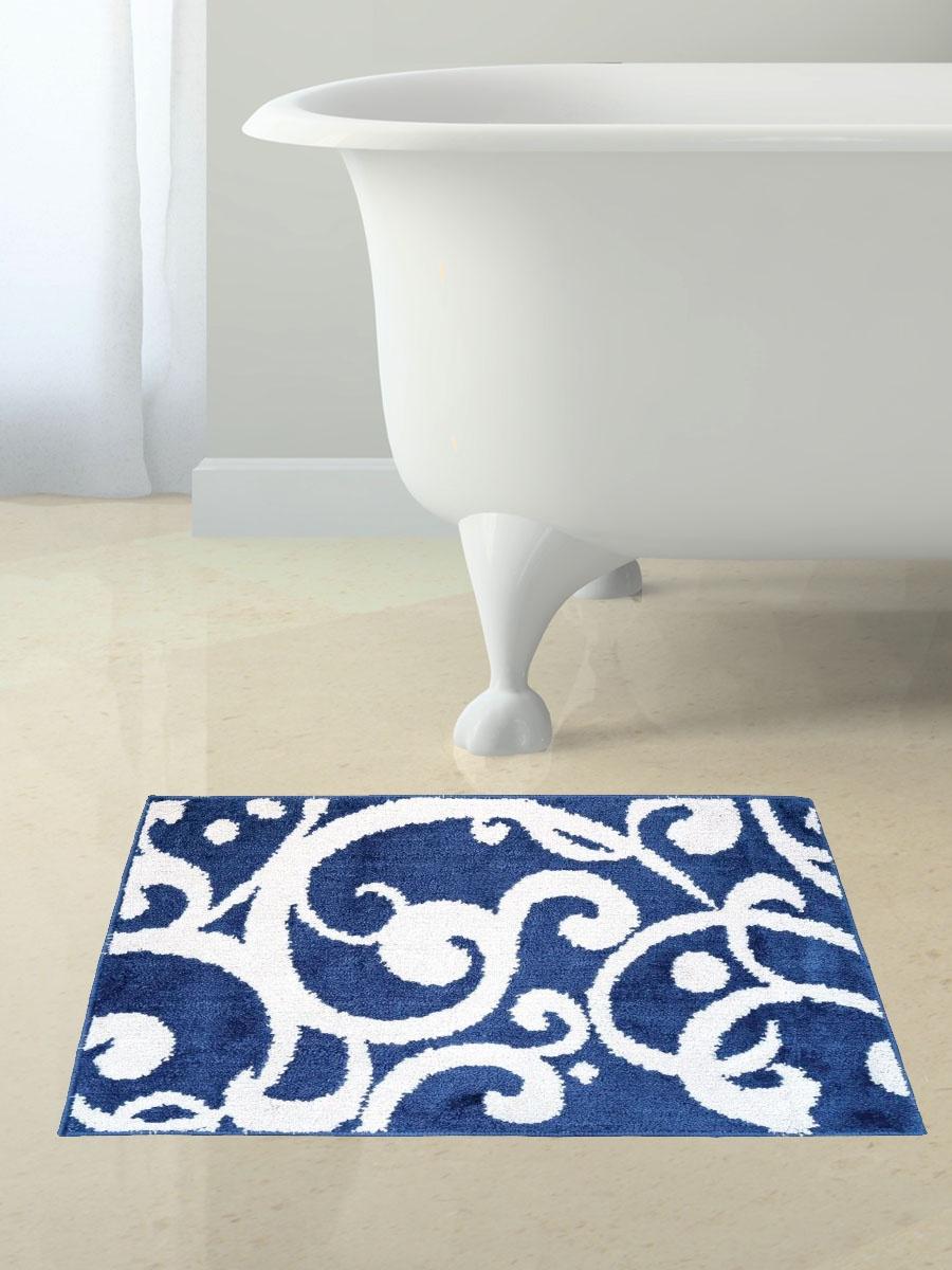 Коврик для ванной Mr.Penguin УЗОРЫ, синий, белый коврик для туалета mr pinguin узоры синий белый