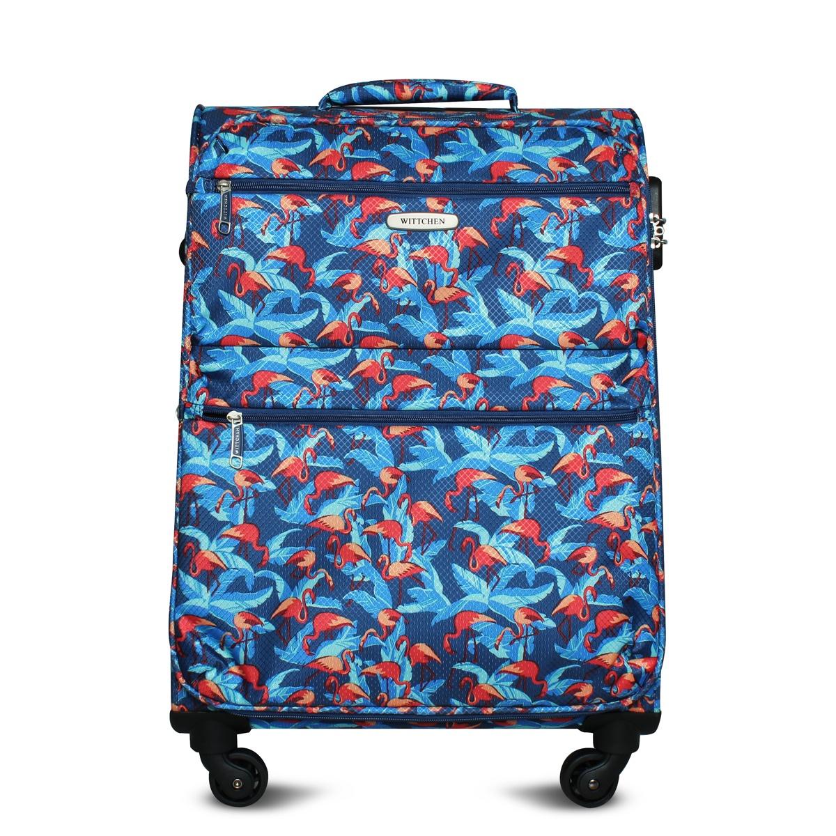 Чемодан WITTCHEN 56-3S-542, синий, розовый56-3S-542-FLСредний чемодан на колёсах от бренда WITTCHEN. Яркий и модный чемодан с фламинго выполнен из легкого водонепроницаемого материала, оснащен удобной телескопической ручкой и двумя ручками на верхней и боковой части чемодана. Оснащен кодового замком.