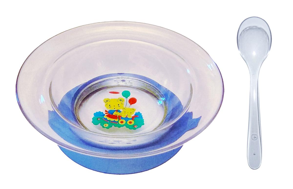 Набор посуды для кормления АртХаус Тарелка на присоске с ложкой, голубой
