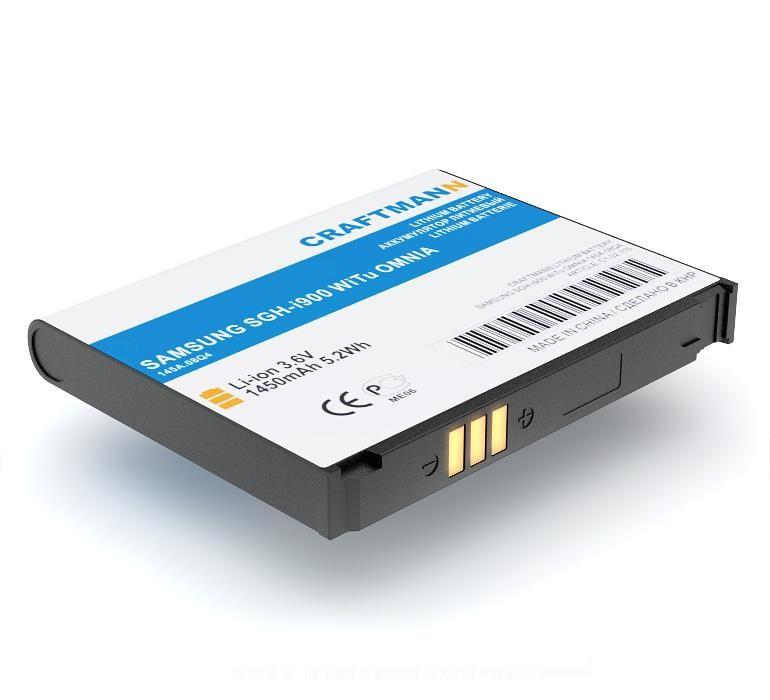 Аккумулятор для телефона Craftmann AB653850CE для SAMSUNG SGH-i900 WiTu OMNIA, GT-i7500, GT-i8000, GT-i9020, GT-i9023, i627, i908, T939 Behold 2, Mobiado Grand Touch. аккумулятор для телефона craftmann ab553850de для samsung sgh d880 d880 d888 d980 d988 gt b5712c p720 w619 w629
