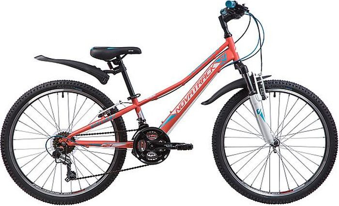 Велосипед Novatrack Valiant, коралловый, 24, рама 10 novatrack novatrack велосипед valiant 24 рама 12 18 скоростей коралловый
