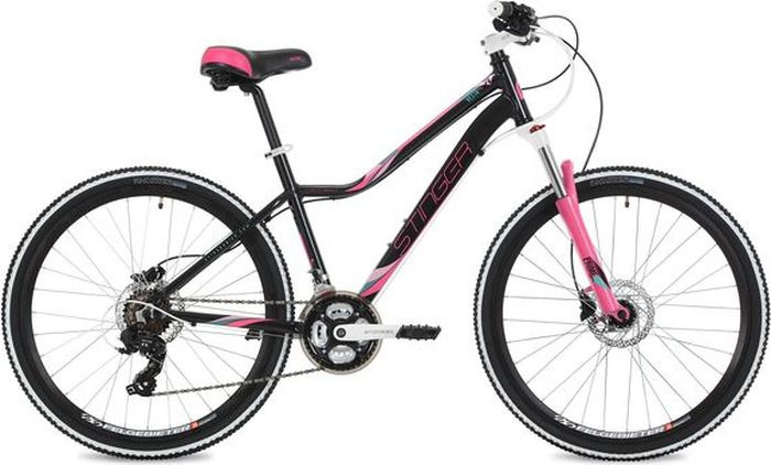 Велосипед Stinger Vesta Pro, черный, 26, рама 17 велосипед stinger vesta evo 26 рама 15 сереброо