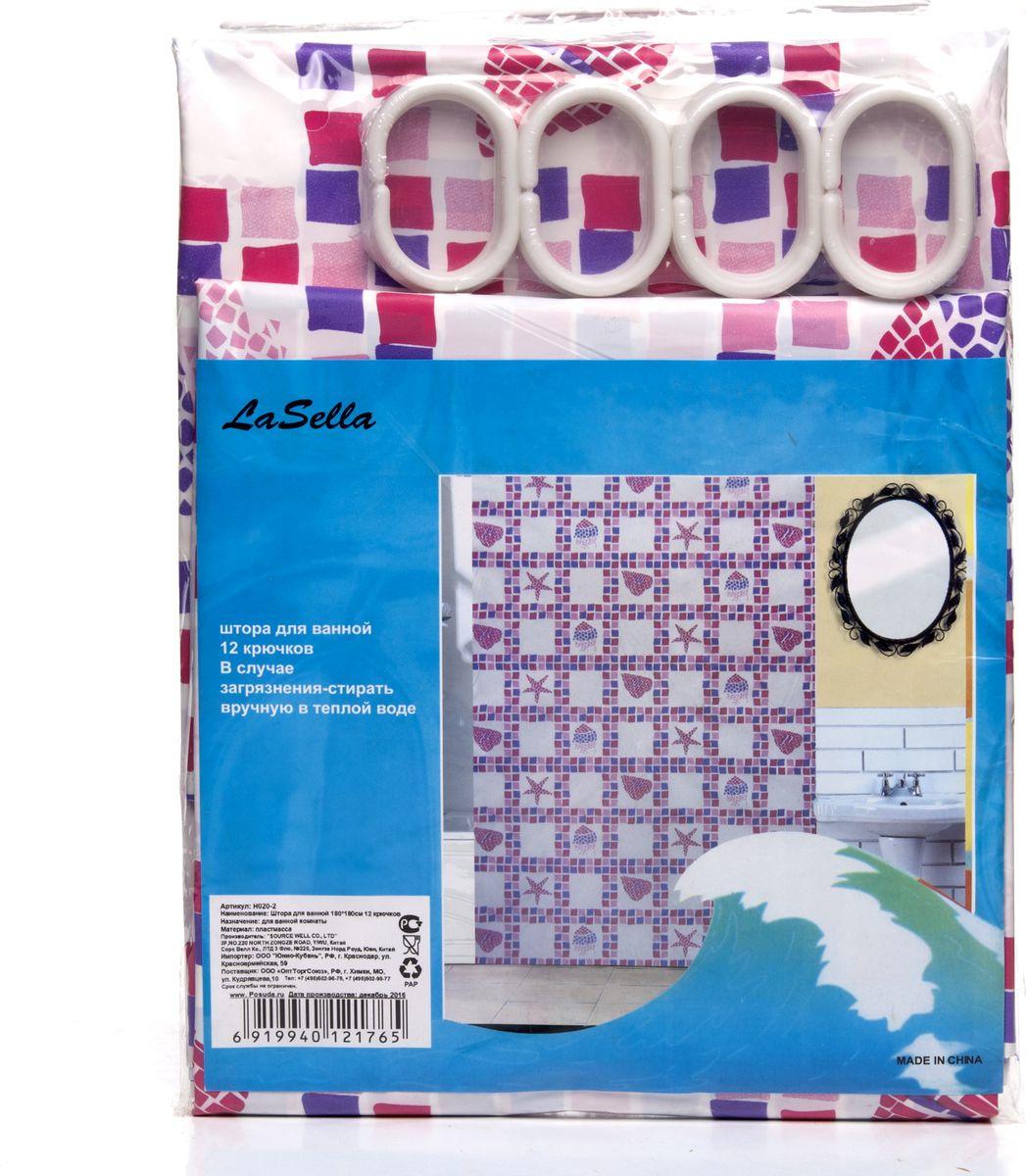 все цены на Штора для ванной LaSella, H020-2, с крючками, 180 х 180 см онлайн