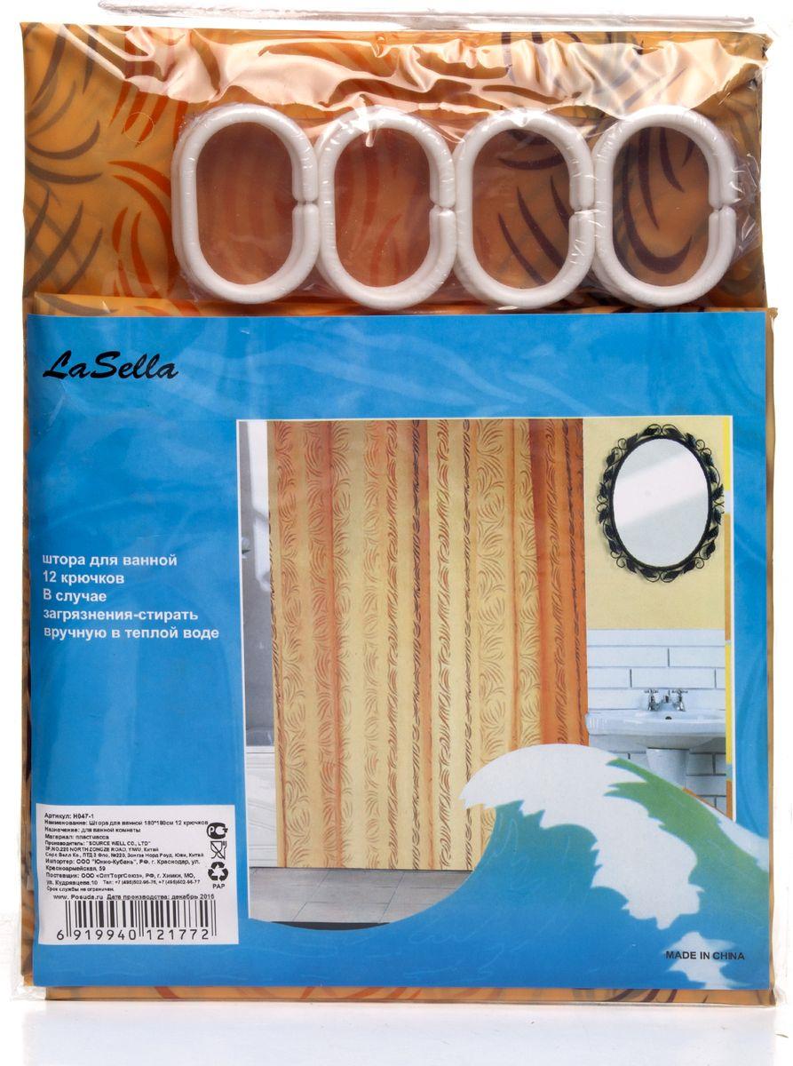 Штора для ванной LaSella, H047-1, с крючками, 180 х 180 см штора для ванной valiant водопад цветов цвет белый голубой 180 х 180 см