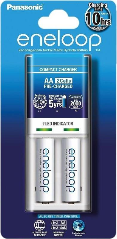 Зарядное устройство Panasonic Basic, K-KJ50MCC20E, для 1-2 аккумуляторов АА/ААА Ni-MH + батарейка типа АА, 1900 mAh, 2 шт зарядное устройство для автомобильных аккумуляторов houde 15000 mah hd18