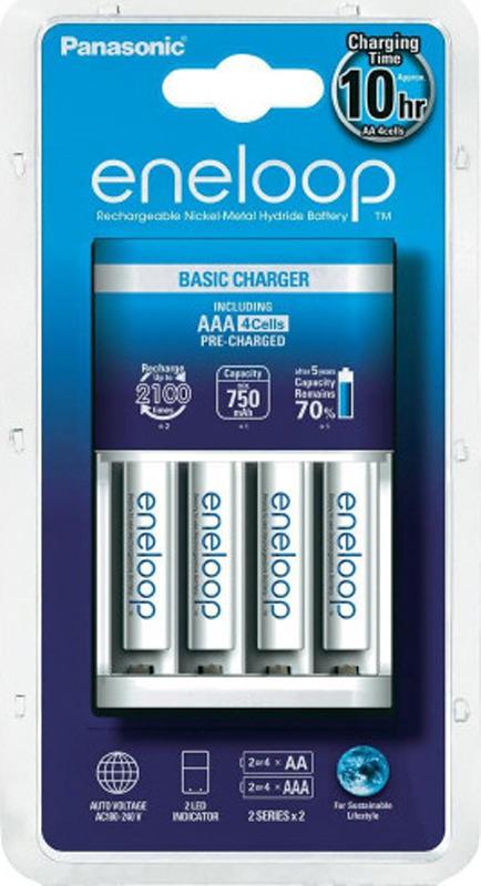 Зарядное устройство Panasonic Basic, K-KJ51MCC04E, для 2 или 4 аккумуляторов типа АА/ААА Ni-MH + батарейка типа АА, 750 mAh, 4 шт