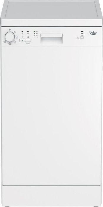 Посудомоечная машина Beko, DFS 05012W, белыйDFS 05012WПосудомоечная машина Beko DFS 05012 W рассчитана на мытье и сушку до 10 комплектов посуды. Узкий корпус модели выполнен в классическом белом цвете, что гарантирует комфортную интеграцию прибора в любой современный интерьер. Модель предусматривает возможность половинной загрузки для экономии воды и электроэнергии. Экспресс-программа позволяет быстро отмыть слабо загрязненную посуду. Верхняя корзина моечной камеры регулируется по высоте даже при полной загрузке. Индикатор наличия соли сигнализирует об оставшемся ее количестве и, в соответствующих случаях — необходимости пополнить запасы. Дополнительная система защиты от протечек Watersafe+ гарантирует безопасность в случае утечки воды.Габариты и вес Ширина 45 см Высота 85 см Глубина 60 см Крупногабаритный товар.,Рекомендуем!