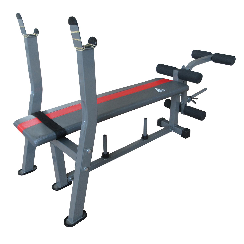 Силовая скамья DFC со стойками, красный, серый многофункциональная скамья со стойками muscle weight bench rho