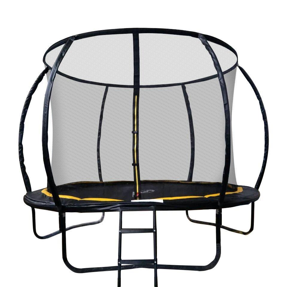 Батут Sport Elite с защитной сеткой (внутрь) с лестницей черный, желтый