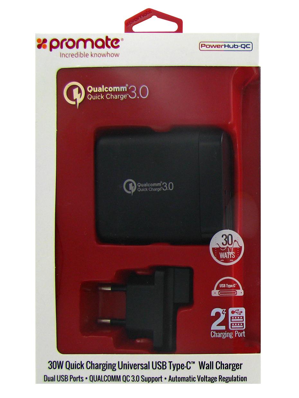 Зарядное устройство Promate PowerHub-QC, черный зарядное устройство акб gs 6в 12в 10a с индикатором зарядки защитой от короткого замыкания golden snail gs 9216