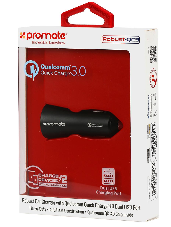 Автомобильное зарядное устройство Promate Robust-QC3, черный автомобильное зарядное устройство nillkin celerity qc3 0 золотой 6902048139831