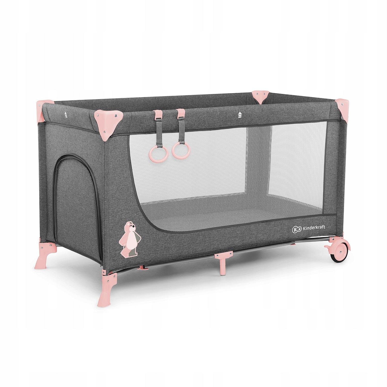 Манеж-кроватка Kinderkraft Joy Basic серый, розовый