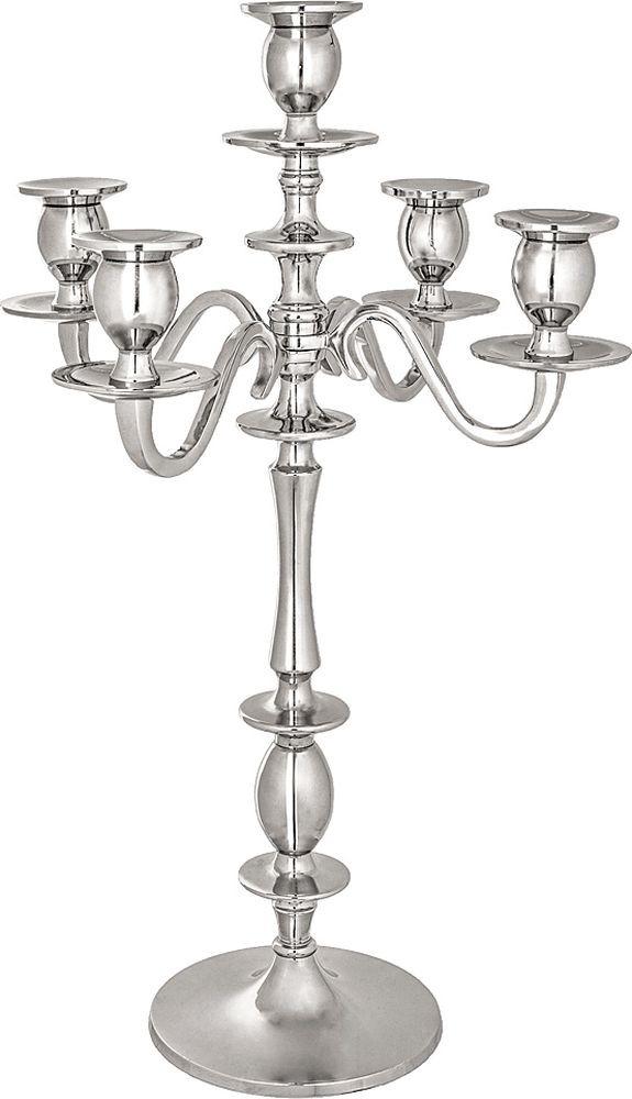 Подсвечник Lefard, на 5 свечей, 726-124, серебристый, высота 52 см подсвечник для чайной свечи 5 5см с инкрустацией в ассорти 5 5 см