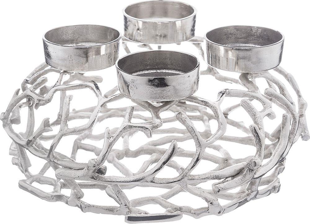 цена на Подсвечник Lefard, на 4 свечи, 726-132, серебристый, 35 х 31 х 15,5 см