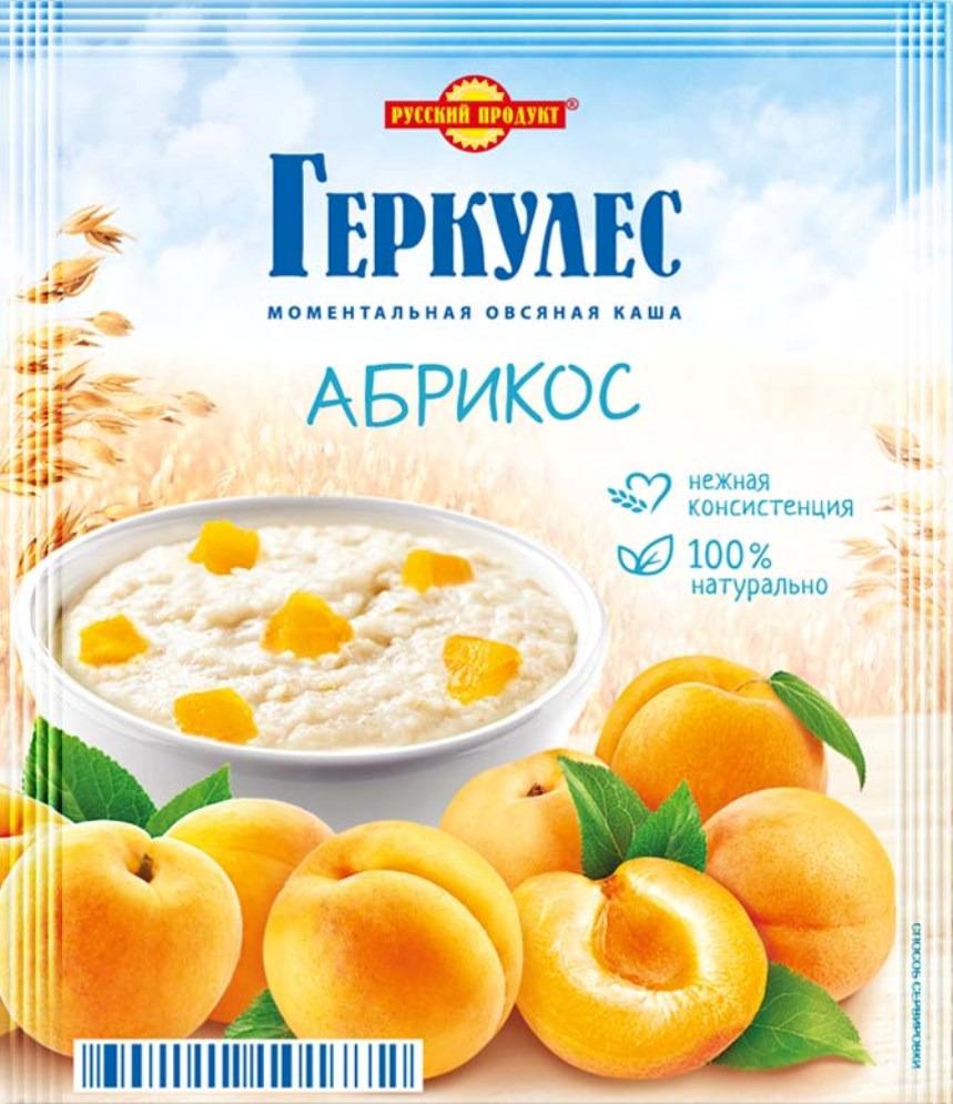Русский продукт Геркулес овсяная каша с абрикосами, 30 шт по 35 г русский продукт желе зеленое яблоко 35 шт по 50 г