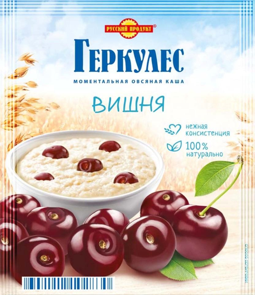 Русский продукт Геркулес овсяная каша с вишней, 30 шт по 35 г русский продукт желе зеленое яблоко 35 шт по 50 г