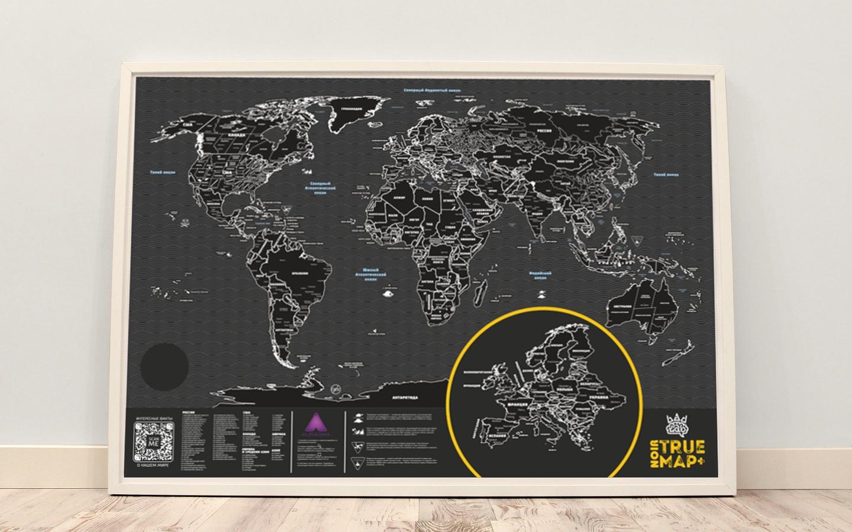 Постер BADLAB Карта мира со скретч слоем True Map Plus Noir, черный майка классическая printio the old school 90 series iv