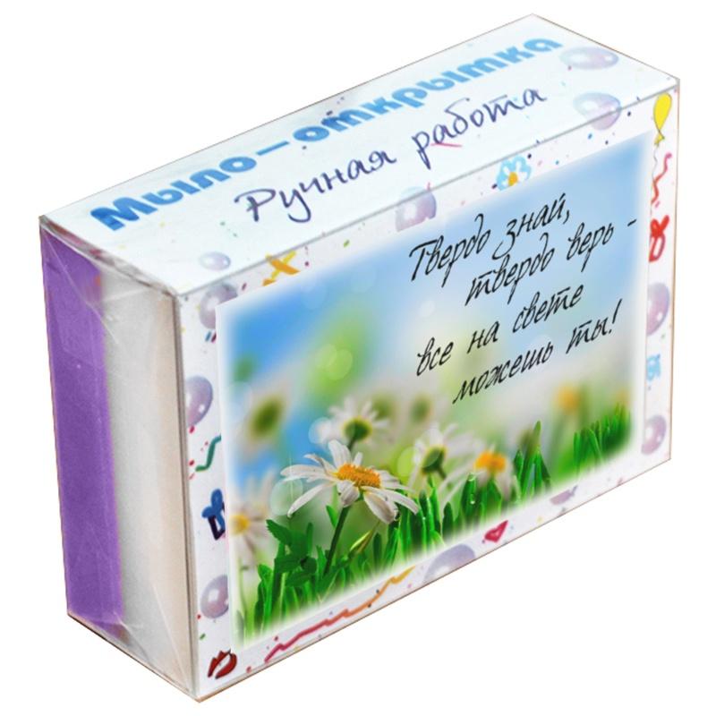 Мыло туалетное ЭЛИБЭСТ натуральное глицериновое ухаживающее, мыло-открытка «Твердо знай, твердо верь – все на свете можешь ты!» с нестираемой картинкой, небольшой оригинальный подарок, 100 гр