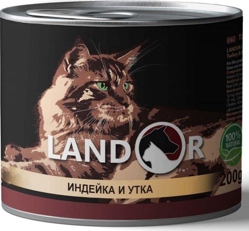 Корм консервированный Landor, для взрослых кошек, индейка с уткой, 200 г