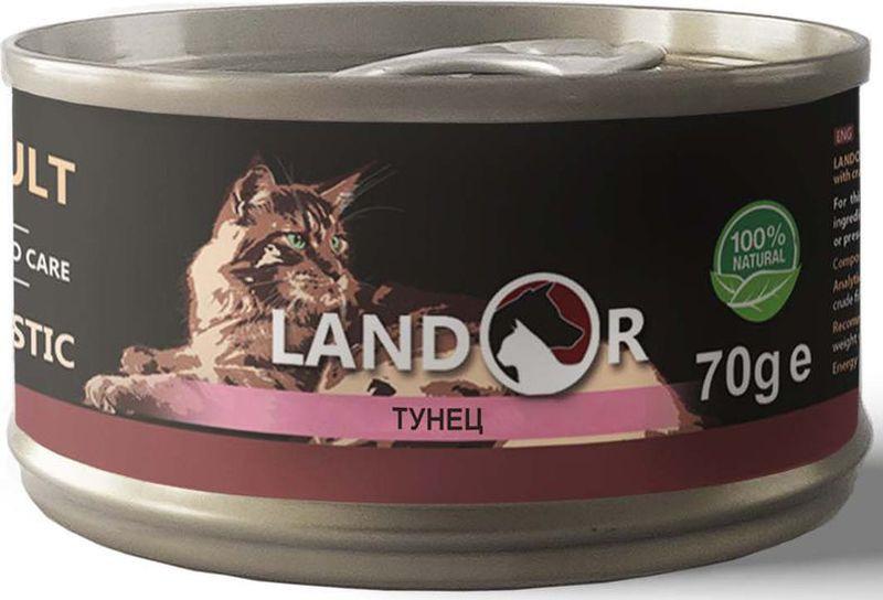 Корм консервированный Landor, для взрослых кошек, тунец, 70 г