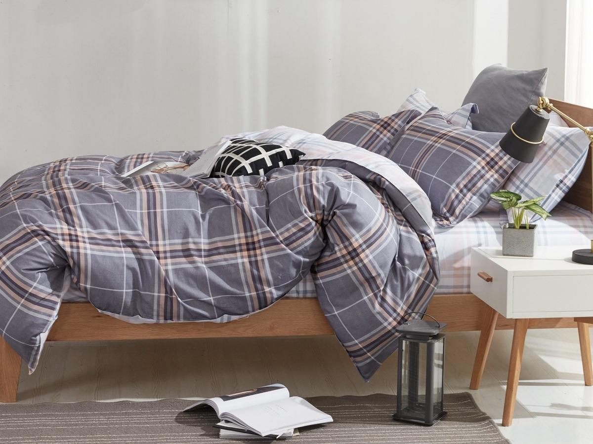 Комплект постельного белья Cleo Satin lux Торньон, 20/330-SL, темно-серый, 2-спальный, наволочки 70x70 постельное белье cleo satin lux 20 070 sl комплект 2 спальный сатин