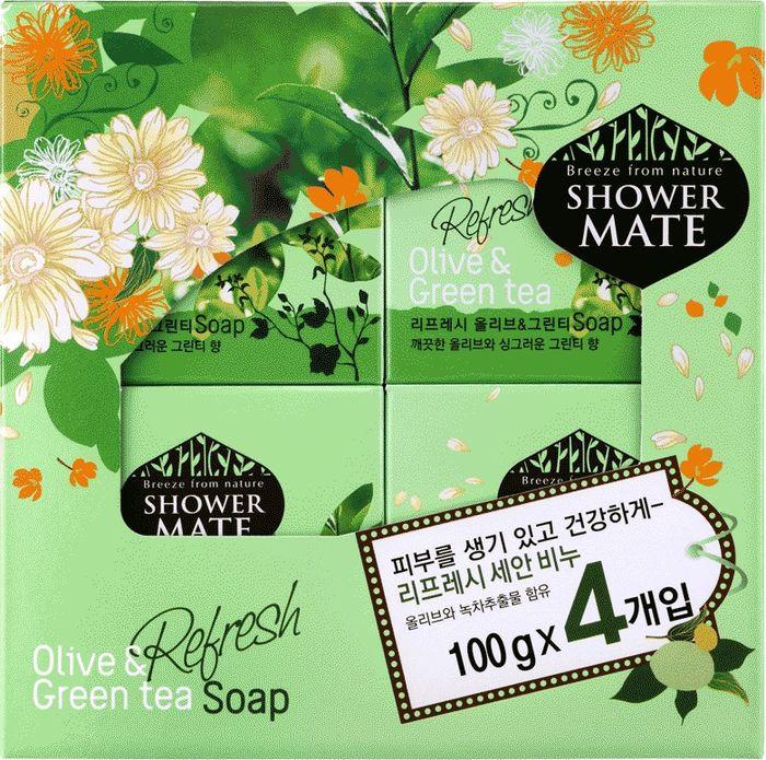 Мыло косметическое Shower Mate Оливки и зеленый чай, 4 шт х 100 г