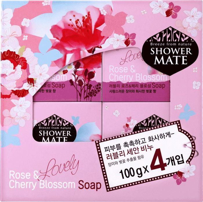 Мыло косметическое Shower Mate Роза и вишневый цвет, 4 шт х 100 г