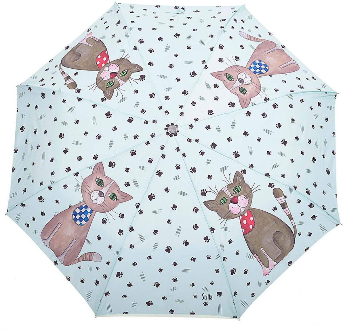 Зонт женский Stilla, автомат, 3 сложения, цвет: светло-бирюзовый, коричневый. 729/2 mini2 зонт stilla 680auto 1 светло коричневый