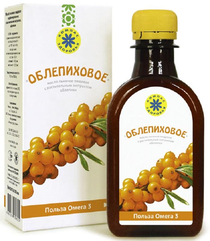 Масло Льняное Компас Здоровья «Облепиховое», 0,2 л масло льняное компас здоровья сибирское 0 2 л