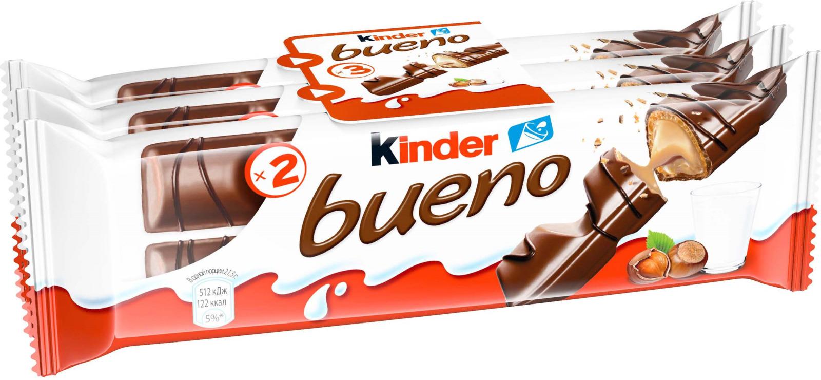 Kinder Bueno вафли в молочном шоколаде с молочно-ореховой начинкой, 3 шт по 43 г десерты kinder kinder surprise для девочки 20 г