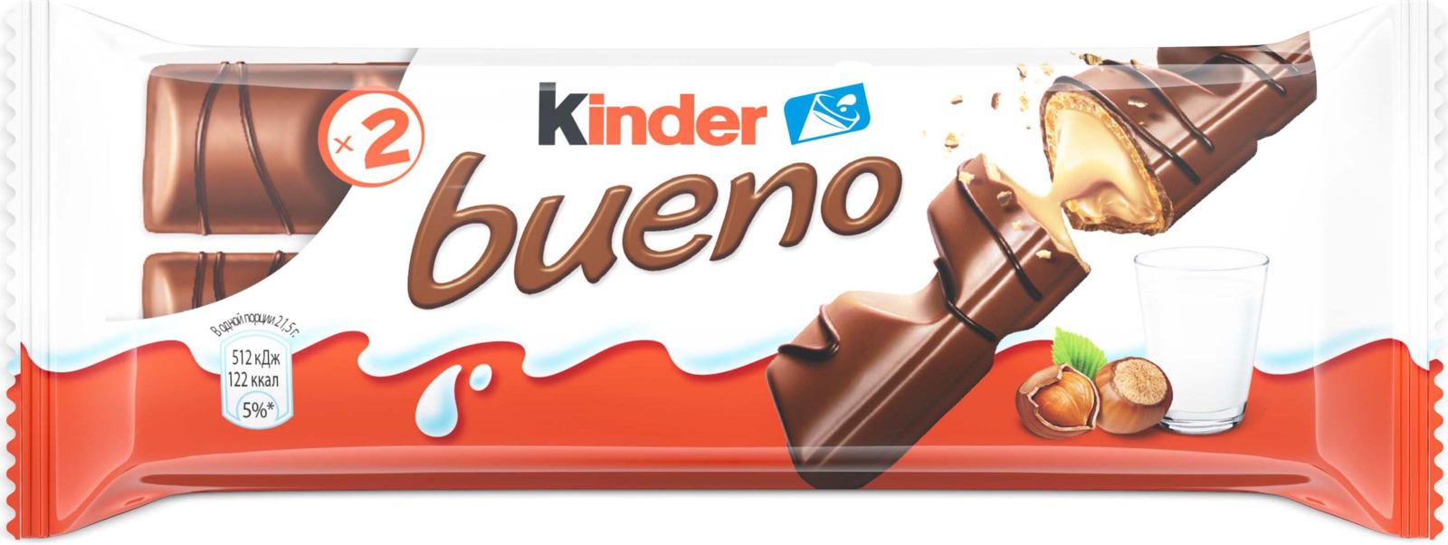 Kinder Bueno вафли в молочном шоколаде с молочно-ореховой начинкой, 43 г десерты kinder kinder surprise для девочки 20 г