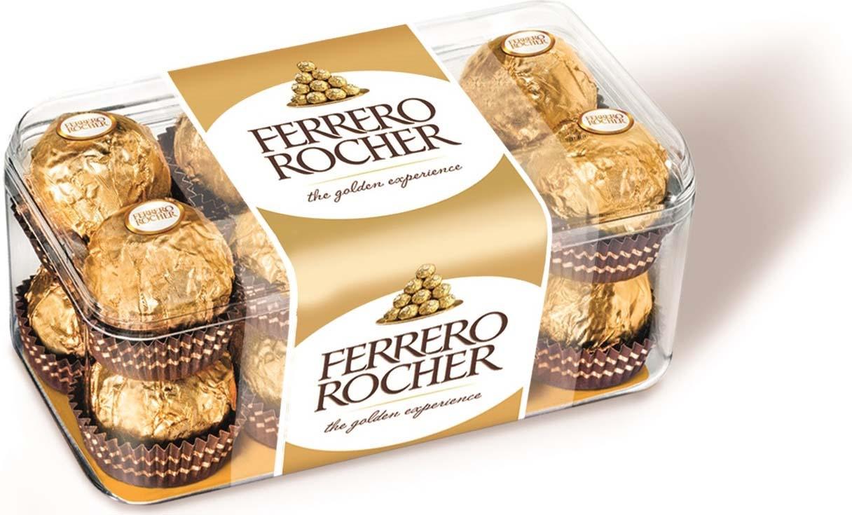 где купить Ferrero Rocher конфеты хрустящие из молочного шоколада, покрытые измельченными орешками, с начинкой из крема и лесного ореха, 200 г дешево