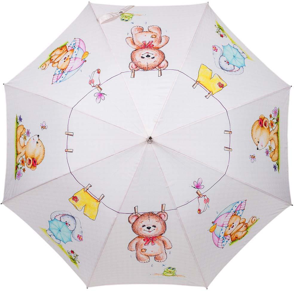 Зонт-трость женский Stilla, автомат, цвет: светло-бежевый. 808auto зонт stilla 680auto 1 светло коричневый