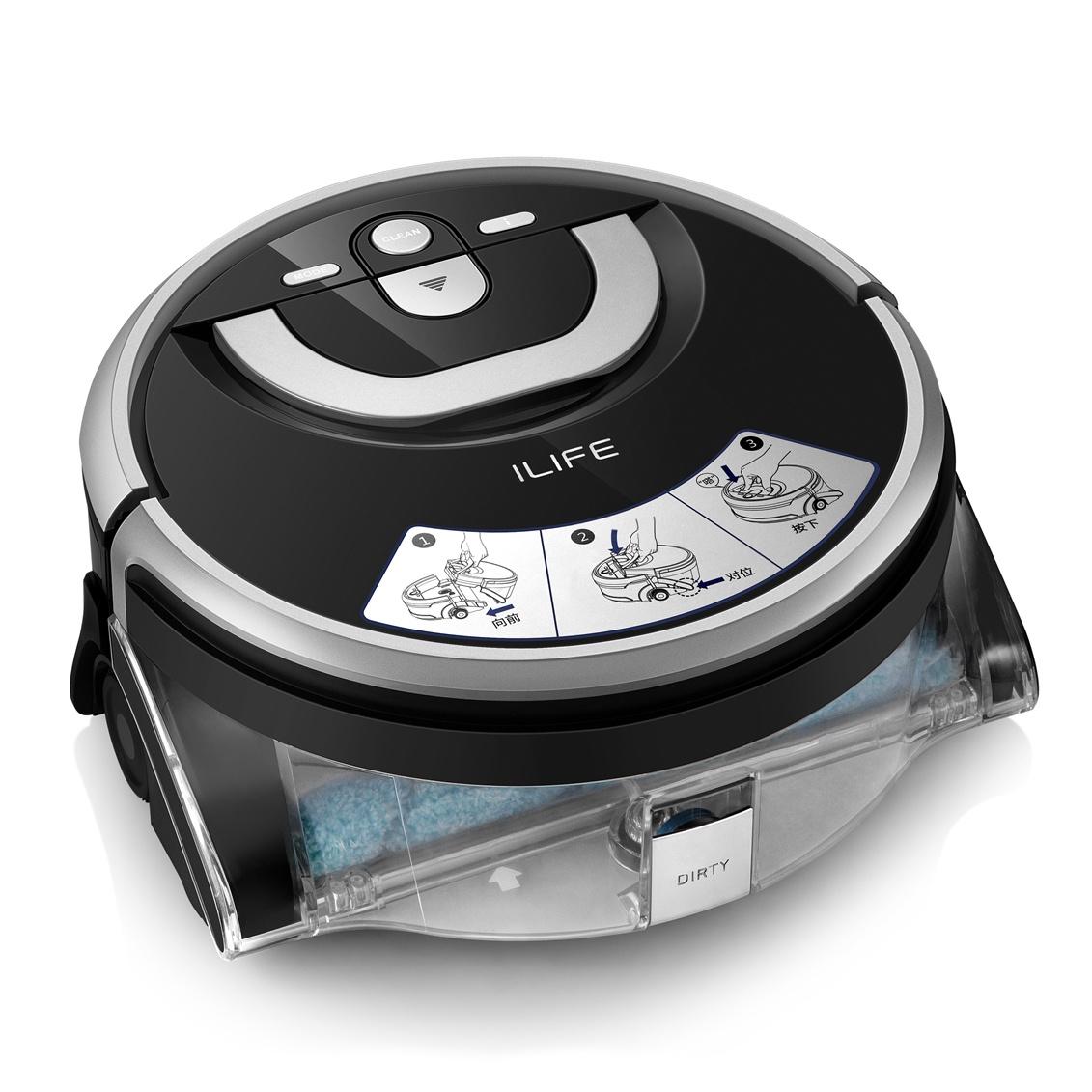 Робот-пылесос ilife W400, черный полезные 6pcs влажная очистка kit cmos ccd пылесос швабру для dslr камеры