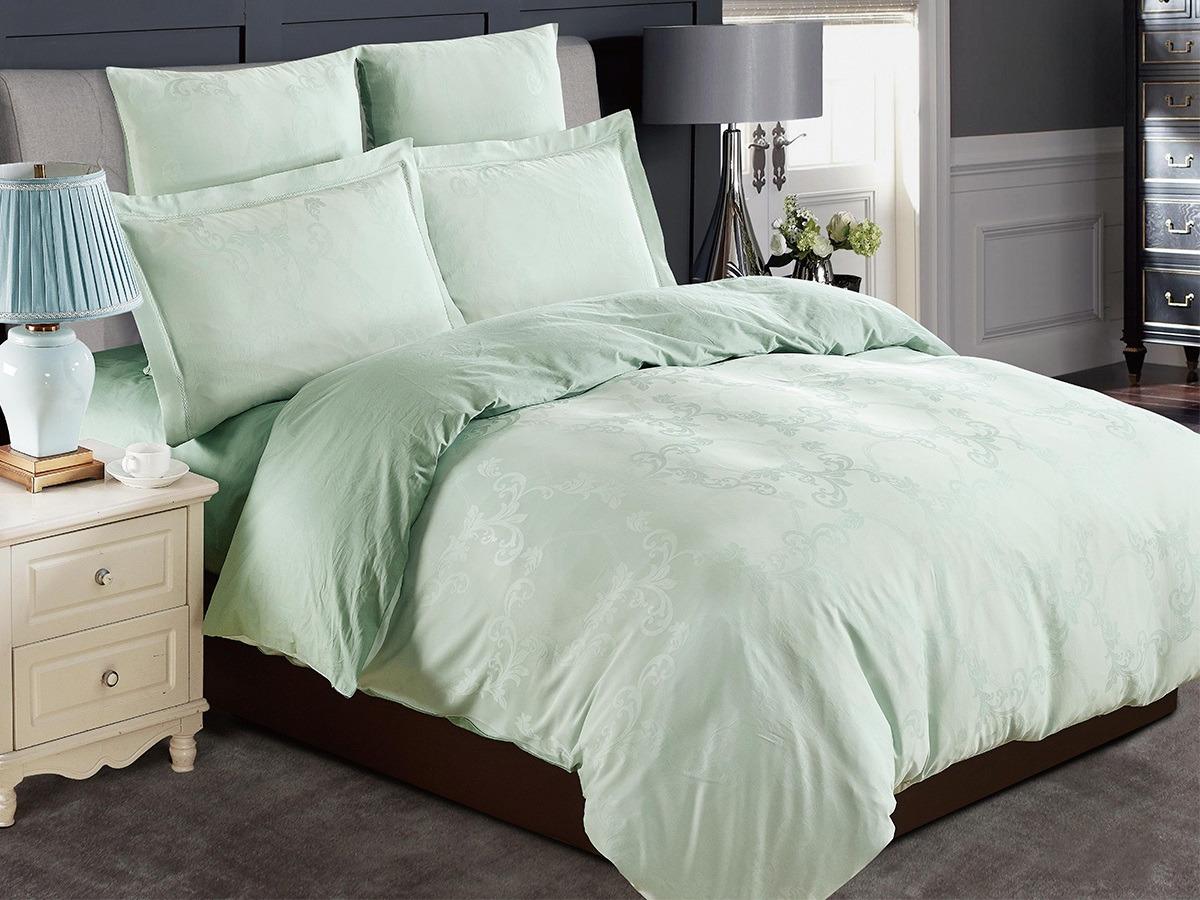 Комплект постельного белья Cleo Tencel Jacquard Далия, 41/002-TJ, светло-зеленый, семейный, наволочки 50х70, 70х70