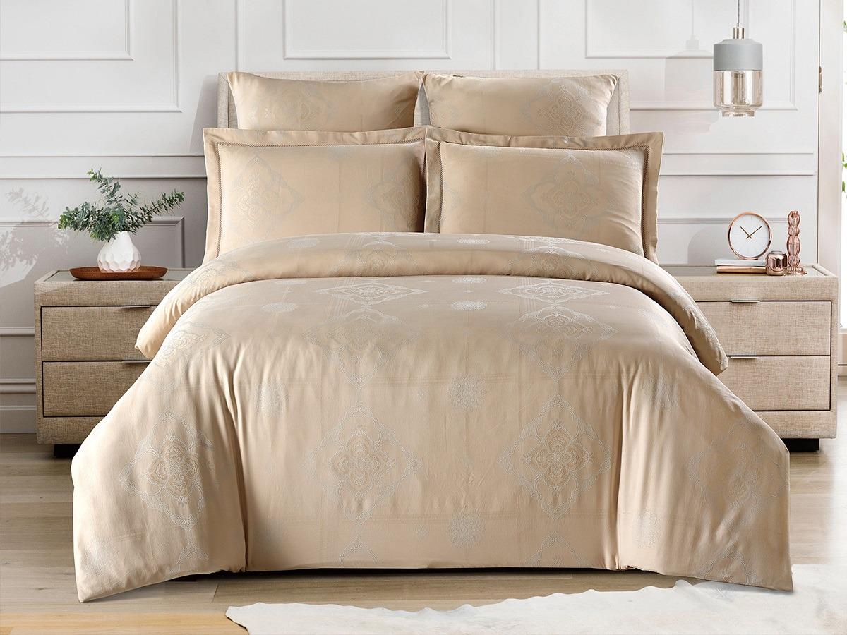 Комплект постельного белья Cleo Tencel Jacquard Марелла, 41/018-TJ, бежевый, ваниль, семейный, наволочки 50х70, 70х70