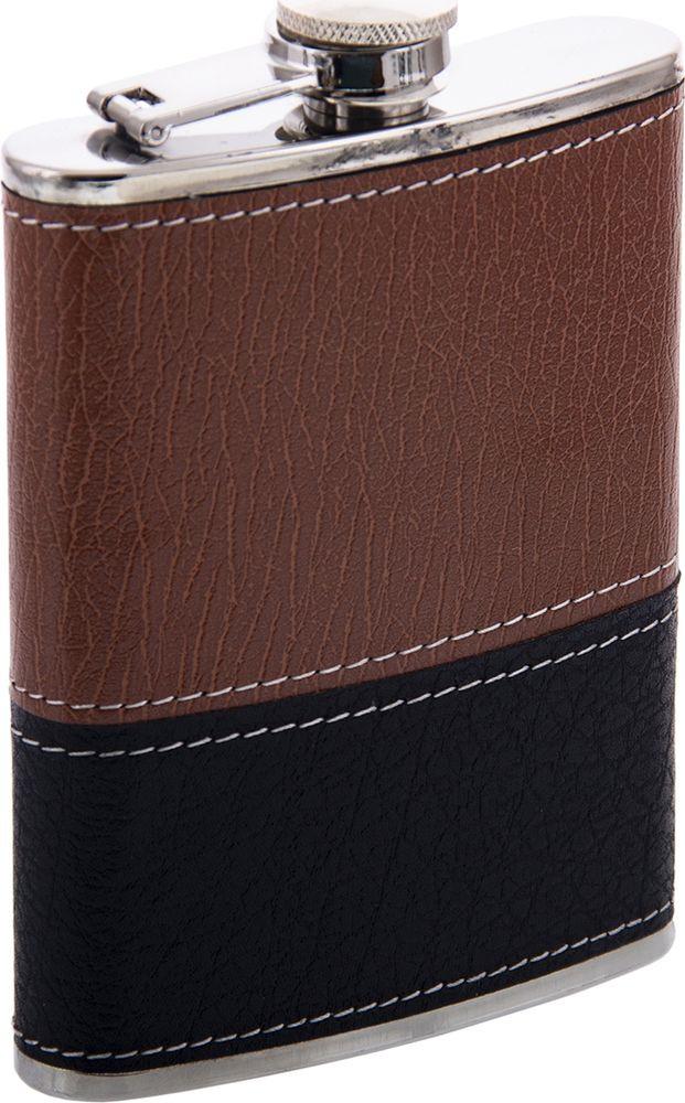 Фляжка Русские Подарки, 46065, коричневый, черный, 230 мл