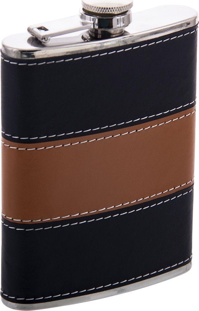 Фляжка Русские Подарки, 46067, коричневый, черный, 230 мл