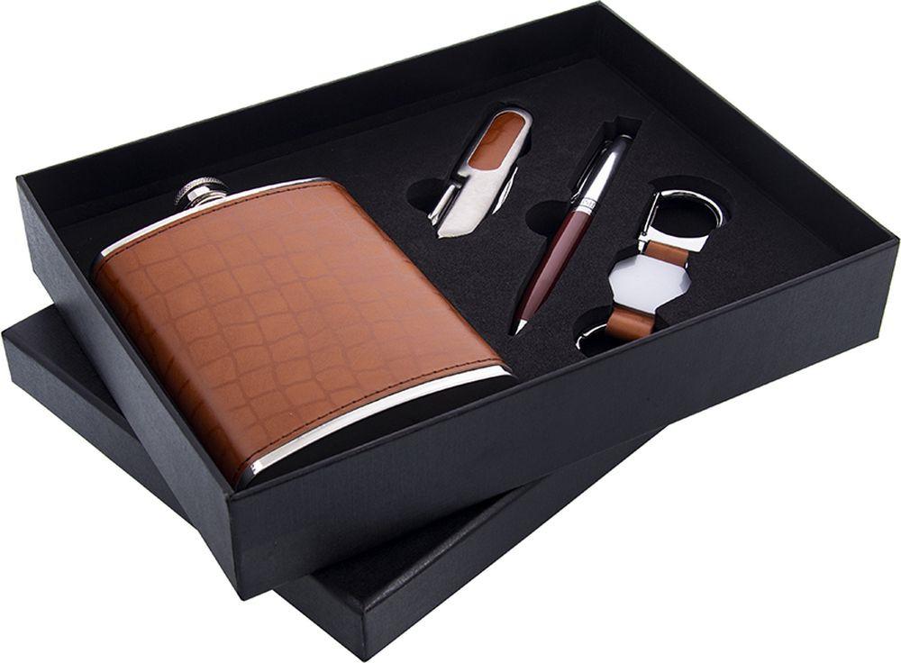 Сувенирный набор Русские Подарки, 46070 Фляжка, 230 мл + Нож складной + Ручка + Брелок брелок калашников фляжка