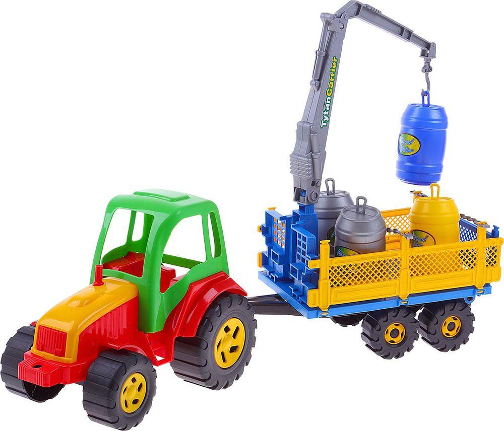 Машинка Rabbit Трактор Tytan, с бочками, 1167322 машинка hoffmann трактор с кузовом на прицепе масштаб 1 72 47528 зеленый трактор