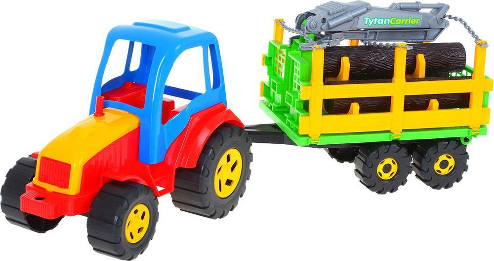 Машинка Rabbit Трактор Tytan, с бревнами, 1217125 машинка hoffmann трактор с кузовом на прицепе масштаб 1 72 47528 зеленый трактор