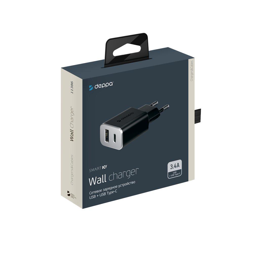 Зарядное устройство Deppa USB + USB Type-C 3. 4А Deppa