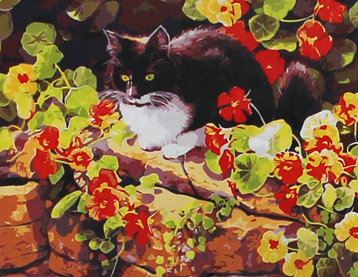 Фото - Набор для живописи Рыжий кот Кот в саду, 50 х 40 см набор для живописи рыжий кот лошадь и кот в цветах 50 х 40 см