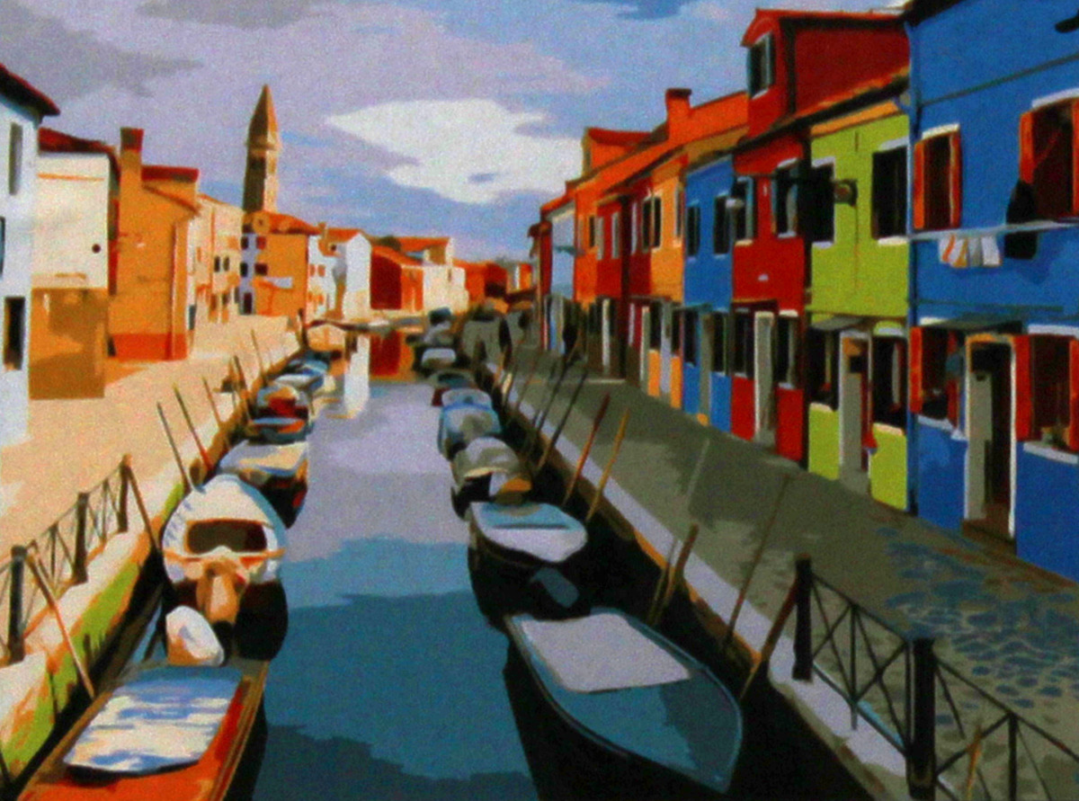 Фото - Набор для живописи Рыжий кот Европейский город и канал, 50 х 40 см набор для живописи рыжий кот лошадь и кот в цветах 50 х 40 см