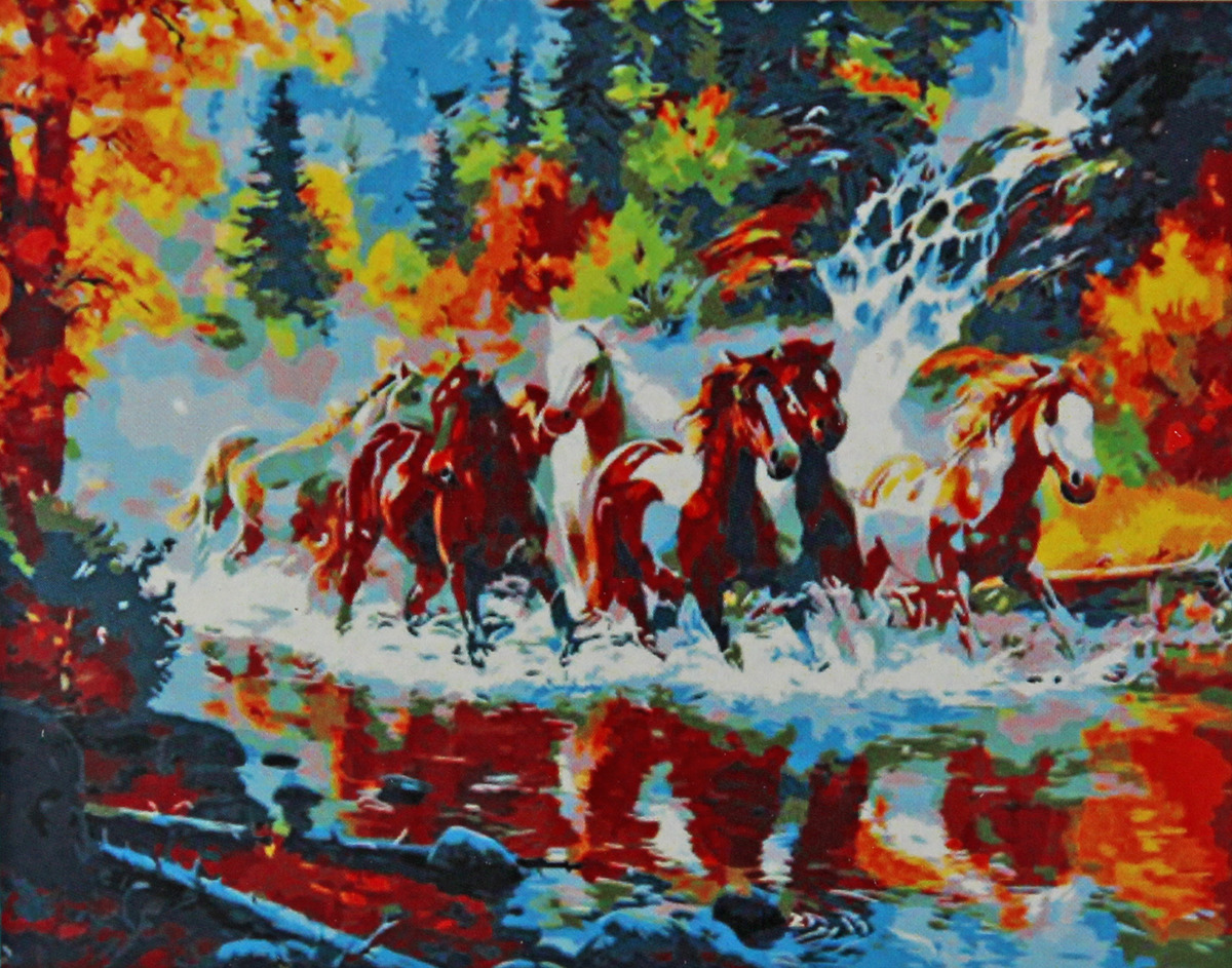 Фото - Набор для живописи Рыжий кот Табун лошадей на реке в лесу, 50 х 40 см набор для живописи рыжий кот лошадь и кот в цветах 50 х 40 см