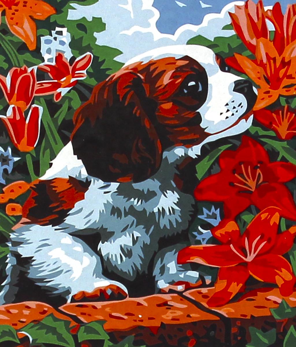 """Набор для живописи Рыжий кот """"Щенок спаниеля в цветах"""", 50 х 40 см"""